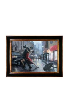 "Adrian Borda Life Is A Dance in The Rain Framed Hand Painted Oil On Canvas, Multi, 33"" x 45"" at MYHABIT"