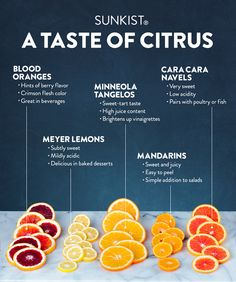 Not all citrus is the same! From the juicy tartness of Minneola tangelos to the hint of fresh raspberry found in blood oranges, each Sunkist citrus variety has a unique and delicious flavor. Did you know that Meyer lemons are subtly sweet and great in baked desserts? Or that Cara Cara Navel oranges have low acidity and pairs well with poultry and fish? Taste and learn more about the different flavor profiles and pairings of these in-season citrus varieties.