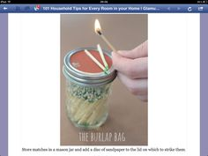 Mason jar for storing matches, with sand paper on the lid