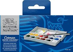 Winsor & Newton Cotman Water Colour Sketchers Pocket Box This popular pocket-sized plastic box features an integral mixing palette in the lid Contains 12 assorted Cotman Water Color half pans & a pocket brush Actual contents may vary Watercolor Paint Set, Watercolor Painting Techniques, Easy Watercolor, Watercolor Sketch, Artist Painting, Watercolor Beginner, Painting Tools, Moleskine Art, Petite Palette