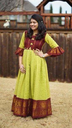 sari dress Long Dresses made out of old and Damaged Sarees - Indian Fashion Ideas Lehenga Designs, Kurta Designs, Kurti Designs Party Wear, Saree Blouse Designs, Saree Gown, Lehnga Dress, Anarkali Lehenga, Frock Dress, Anarkali Suits