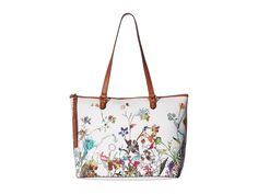 "Elliott Lucca Women's Aria 14"" Laptop Tote Shoulder Bag White Botanical Garden"