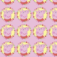 peppa pig ring of flowers pink fabric by jazzeira on Spoonflower - custom fabric