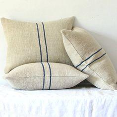 Vintage Grainsack Pillow Double Blue Stripe by jillbent on Etsy, $90.00