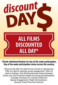 Cinemark - Discount Day $5 Tuesdays all day.