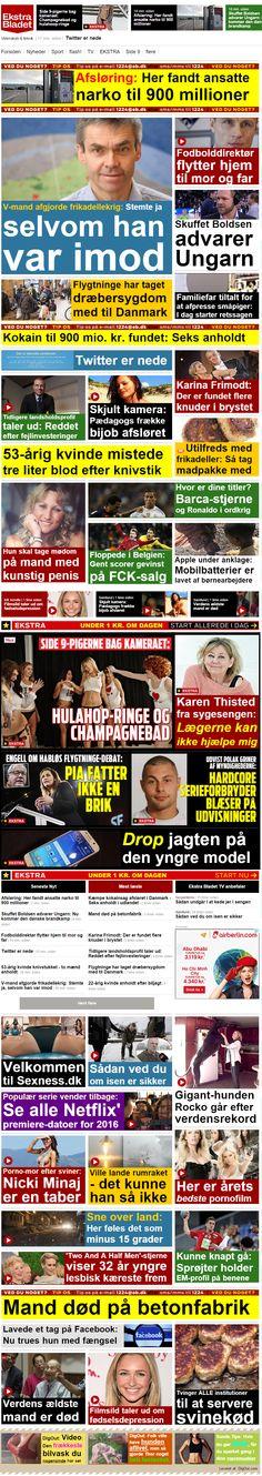 """Svinekød slår alt det andet """"kød"""" som Ekstrabladet serverer for læserne på deres web avis. Havde forsiden en periode tirsdag formiddag."""
