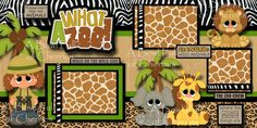 WHAT A ZOO girl 2 premade scrapbook pages 3D paper piecing layout album CHERRY   eBay