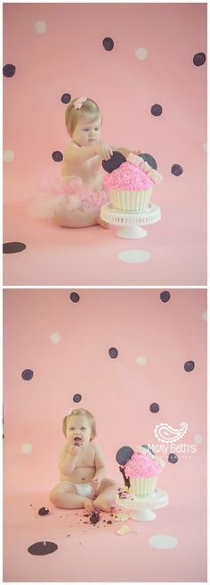 1st Birthday and Cake Smash Portraits with a Minnie Mouse theme for Mary Beth's Photography in Augusta, GA | Augusta GA Newborn Photographer, Augusta GA Family Photography #1stbirthday #cakesmash #customphotographysets #augustaga #minniemousecakesmash