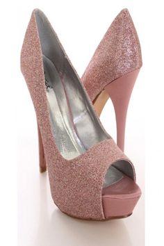 Pink Multi Glitter Faux Leather Peeptoe Platform Pump Heels Glitter Dress 5ff25bee54f6