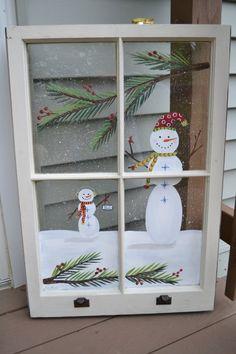 Snowman Window/ Old Window/Painted Window/ Vintage Window/Christmas Window/Holiday Art/Snowman Art/ Shabby Chic/ Old Windows Painted, Painted Window Panes, Painting On Glass Windows, Window Pane Art, Painted Windows For Christmas, Glass Paint, Old Window Art, Window Paint, Antique Windows