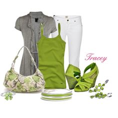 Green and Gray Outfit, created by tracey-puckett on Polyvore
