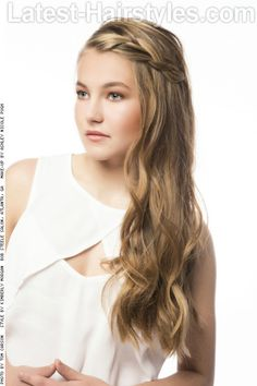 Long Naturally Textured Hairstyle with Braid Side