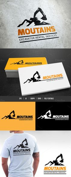 Mountains Excavator by Super Pig Shop on Creative Market
