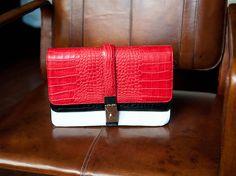 Zara: crocodile city bag with three compartments. Love the color blocks! <3