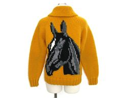 WANT!! 50s Knit Horse Sweater / Vintage 1950s Yellow Zip Up Sweater / Handmade Equestrian Preppy Collegiate School Girl Boy Sweater Jacket / S