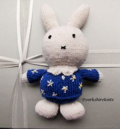 Hand Knitted Miffy Rabbit stuffed toy, Baby shower gift, New Baby gift handmade UK seller Wool rich Ready Now to ship worldwide Baby Toddler by HandKnittedYorkshire on Etsy