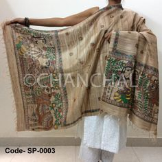 Brown Tassar Ghicha with Color Painting depicting village life and Krishna with Gopis.  Size: L*W (2.5 mtr *1 mtr)