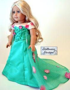 SPECIAL SPRINGTIME Gown for American Girl Dolls Snow Queen by Dollhouse Designs  #AGD frozen fever elsa