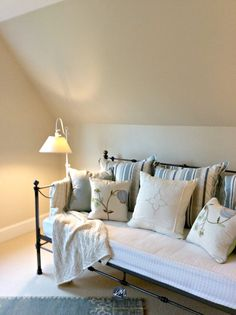 Benjamin Moore Gentle Cream in a guest bedroom wtih sloped ceilings and a day bed with blue accents. Kylie M Interiors E-design and Online Colour Consulting services. Cream Bedroom Walls, Cream Bedrooms, Cream Living Rooms, Cream Walls, Bedroom Wall Colors, Beige Walls, Master Bedroom, Bedroom Ceiling, Cream Paint Colors