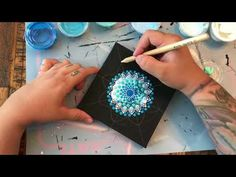How to Paint a Dot Mandala With a Vinyl Stencil 🕉 Dot Art Painting, Mandala Painting, Stencil Painting, Mandala Art, Mandala Painted Rocks, Mandala Rocks, Painting Templates, Painting Patterns, Josi