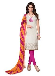 Off White Chanderi Art Silk Churidar Suit