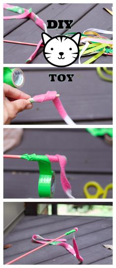 Create this fun DIY Cat Wand toy with two different sides with items you already have in the house. #ad