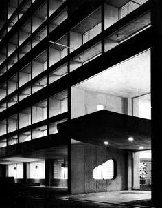 The facade of Kenzo Tange's Dentsu building in Osaka, Japan (1960), Image Source thomoritz.tumblr.com