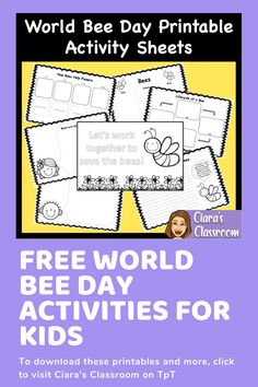 FREE World Bee Day Printable Activities, Templates and Worksheets Sequencing Activities, Printable Activities For Kids, Writing Activities, Teaching Resources, Bee Template, Templates, How Bees Make Honey, Girl Clipart, Activity Sheets