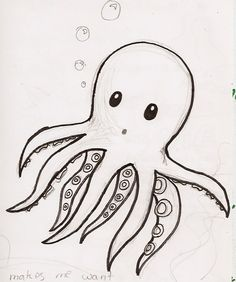 Drawing Doodle Easy Bilderesultat for cute octopus drawing Cute Drawings Tumblr, Doodle Drawings, Doodle Art, Drawing Sketches, Drawing Ideas, Simple Animal Drawings, Simple Doodles Drawings, Simple Cute Drawings, Sea Animals Drawings