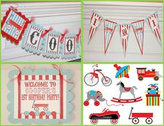 Happy Birthday Little Red Wagon or Vintage by DreamPartyPaperie, $28.00