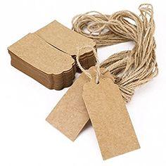 100x étiquette en carton kraft avec cordon chanvre 9,5x4,5cm
