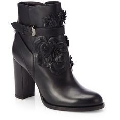 Valentino Leather Rosette Ankle Boots ($1,187) ❤ liked on Polyvore featuring shoes, boots, ankle booties, black, leather bootie, short boots, leather boots, black booties and short leather boots