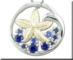 S/S /14KY Graduated Blue Sapphire Starfish Pendant