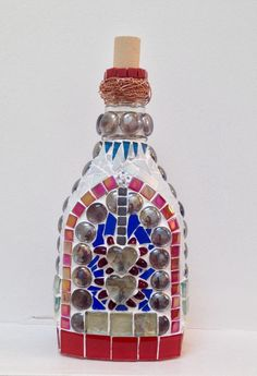 Mosaic bottle, created using stained glass, glass roundels, tiles and copper wire. Glass Bell Jar, The Bell Jar, Wine Bottle Crafts, Bottle Art, Mosaic Bottles, Altered Bottles, Mosaic Art, Stained Glass, Perfume Bottles