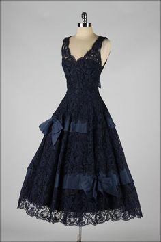 ~Vintage 1950s Midnight Blue Soutache Lace Cocktail Dress~  | From a collection of rare vintage evening dresses at http://www.1stdibs.com/fashion/clothing/evening-dresses/