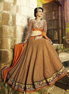 Amazing Orange Heavy Embroidered Designer Bridal Lehenga Choli