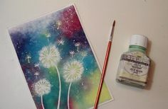 Dandelion Watercolor and Masking Latex by Fantasvale - Tutorial here… Watercolor Flowers, Watercolor Art, Dandelion Art, Paint Party, Types Of Art, Canvas Art, Dandelions, Water Colors, Masking