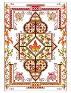 Vickery Collection Celtic October - Cross Stitch Pattern. Model stitched on 16 ct White Aida using DMC floss. Stitch count 140x200.
