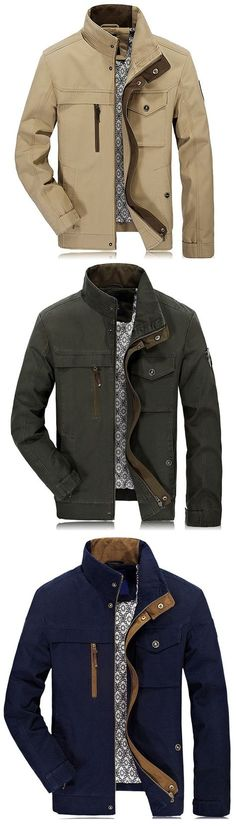 US$63.66# Multi Pockets Jackets,Plus Size Autumn Casual Cotton Stand Collar jackets