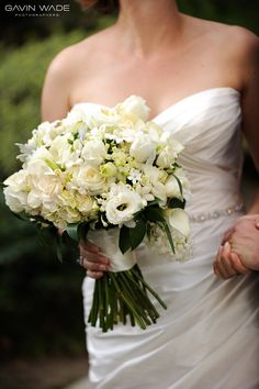 this could be your bouquet- all white but different flowers, and bridesmaids can use the fake ones from my wedding?