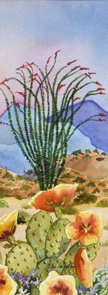 Barbara Ann Spencer Jump – From Parts Unknown Cactus Painting, Watercolor Cactus, Cactus Art, Watercolor Landscape, Landscape Paintings, Watercolor Paintings, Cactus Plants, Cactus Decor, Landscapes