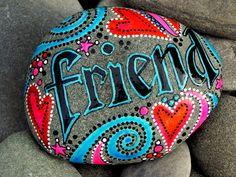 Gekoesterd vriend / geschilderde Rock / Sandi door LoveFromCapeCod