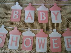 Baby Shower Bunting Banner Flags Garland Pink White Baby Girl Bottles DIY | eBay