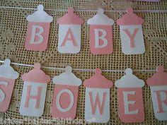 Baby Shower Bunting Banner Flags Garland Pink White Baby Girl Bottles DIY | eBay