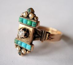 Antique Victorian Diamond, Turquoise & Seed Pearl Ring.