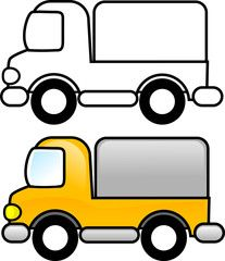 Illustration about Printable coloring page for children or can be used as clip art. Illustration of educate, cargo, characters - 2137860 Art Drawings For Kids, Drawing For Kids, Easy Drawings, Art For Kids, Truck Coloring Pages, Colouring Pages, Coloring Books, Applique Patterns, Applique Quilts