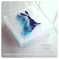 Kj Designs Glass Coaster Hare Rabbit
