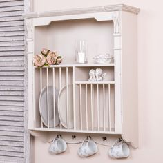 Cream-Wall-Mounted-Plate-Rack-Kitchen-Crockery-French-country-Shabby-vintage