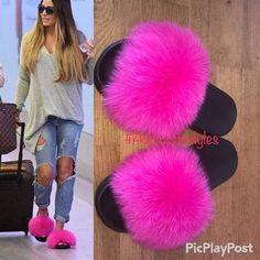9854f4c73f80 Genuine Nike Fox fur slides slippers real fur Slip On Fluffy flats Slides