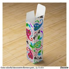 Shop Cute colorful decorative flowers patterns wine box created by ForArt. Wine Gift Boxes, Champagne Bottles, Arizona Tea, Drinking Tea, Flower Decorations, Surface Design, Flower Patterns, Gift Wrapping, Colorful